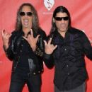 Musicians Kirk Hammett (L) and Robert Trujillo of Metallica attend the MusiCares MAP Fund Benefit Concert at Club Nokia on May 12, 2014 in Los Angeles, California