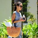 Actress and busy mom Jordana Brewster is spotted running errands in Brentwood, California on July 17, 2015