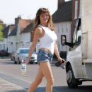 Lizzie Cundy – Spotted in denim hotpants in London - 454 x 581