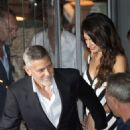 Amal and George Clooney at Gatto Nero in Cernobbio - 454 x 642