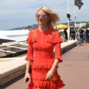 Lena Gercke in Red Dress out in Cannes - 454 x 893