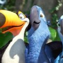 Rafael the Toucan (voiced by George Lopez), Blu (voiced by Jesse Eisenberg) and Jewel (voiced by Ann...