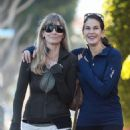 Teri Hatcher in Tights with a friend in Santa Monica