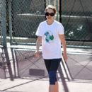 Natalie Portman: playing tennis at a park in Los Angeles