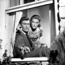 """Chuck Connors and Pippa Scott in a 1960 publicity photo from the CBS Television program """"The DuPont Show with June Allyson"""""""