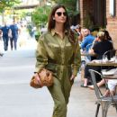 Lily Aldridge in Green Outfit – Out in New York City - 454 x 670