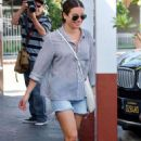 Lea Michele in Jeans Shorts – Out in Brentwood