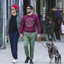 Zachary Quinto and Miles McMillan take their dogs for a walk in the East Village neighborhood of New York City NY on October 17, 2016 - 454 x 483