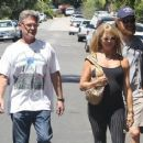 Kurt Russell and Goldie Hawn are spotted checking on the progress of construction on their house in Brentwood, California on August 14, 2015