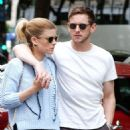 Kate Mara in Mini skirt with Jamie Bell out in Paris - 454 x 1050