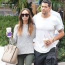 'Dallas' actor Jesse Metcalfe and his fiance Cara Santana stop for some coffee at Coffee Bean in West Hollywood, California on September 20, 2014