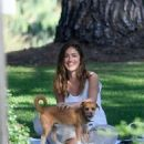 Minka Kelly takes her dog Fred to the park in Beverly Hills - 454 x 519