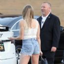 LeAnn Rimes in Jeans Shorts Leaving the Nobu in Malibu - 454 x 760