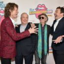 Mick Jagger, Lorne Michaels, Keith Richards, and Jimmy Fallon attend The Rolling Stones celebrate the North American debut of Exhibitionism at Industria in the West Village on November 15, 2016 in New York City. - 454 x 311