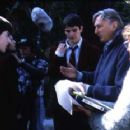 Adam Hann-Byrd, Josh Hartnett and director Steve Miner on the set of Halloween: H20