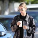 Hailey Bieber in all black ahead of a lunch meeting in Los Angeles