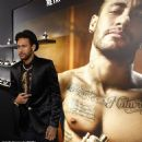 Neymar smoulders in a sleek black blazer, matching shorts and a gold-embellished shirt as he launches new Diesel fragrance - 454 x 458