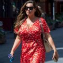Kelly Brook in Red Dress – Leaving Heart Radio Show in London