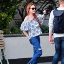 Lindsay Lohan in Jeans with friend out in New York City - 454 x 574