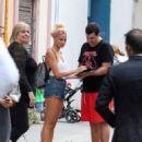 Pixie Lott in Denim Shorts Out in Barcelona - 454 x 561