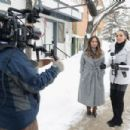 Olivia Culpo conducts interview on the streets of Park City for Amazon's Style Code Live on January 21, 2017 in Park City, Utah - 454 x 302