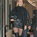 Miley Cyrus in Leather Mini Skirt – Leaving her hotel in London