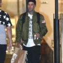 Travis Barker doing some last minute Christmas shopping at Barneys New York in Beverly Hills, California on December 21, 2014