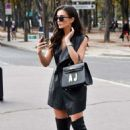 Amy Jackson in Mini Dress – Out in Paris - 454 x 696