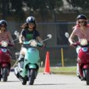 Vanessa Hudgens, Selena Gomez and Ashley Benson practiced riding on scooters, February 29, in Florida. The girls were prepping for their movie, Spring Breakers