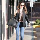 Miranda Kerr stops by Diamond Nails & Spa in West Hollywood, California on January 21, 2013