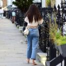 Amy Jackson – In her white blouse top and jeans out and about in Chelsea - 454 x 435