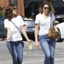 Mandy Moore and Minka Kelly out for some lemonade while wearing matching outfits in Los Angeles, California on September 4, 2014 - 435 x 594