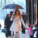 Mariah Carey takes her twins Monroe & Moroccan jewelry shopping on a snowy day in Aspen, Colorado on December 20, 2013