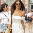 Emily Ratajkowski in White Mini Dress – Out in New York City - 454 x 681