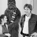 Carrie Fisher, Peter Mayhew and Harrison Ford in