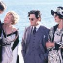 Edward Herrmann as William Randolph Hearst, Kirsten Dunst as Marion Davies, Eddie Izzard as Charlie Chaplin and Joanna Lumley as Elinor Glyn in Lions Gate's The Cat's Meow - 2002