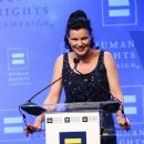 Actress Pauley Perrette speaks to the audience at the 'Human Rights Campaign 2016 Los Angeles Gala' held at the JW Marriott Los Angeles at L.A. LIVE on March 19, 2016 in Los Angeles, California - 454 x 383