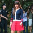 Lea Michele: film scenes for Glee in Downtown NY