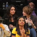 Vanessa Hudgens and Sucker Punch costar Emily Browning attended the LA Lakers vs. Orlando Magic yesterday, March 14