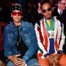£1,469 worth of style? F1 ace Lewis Hamilton and footballer Neymar rock loud colours, stripes and double denim in VERY bizarre looks at LFW... . as they party with scantily-clad models