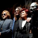 Zakk Wylde, Geezer Butler, singer Ozzy Osbourne, Sharon Osbourne and singer Corey Taylor attend the Ozzy Osbourne and Corey Taylor special announcement at the Hollywood Palladium on May 12, 2016 in Hollywood, California - 454 x 302