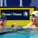 Brendan Hansen is congratulate by Daniel Gyurta of Hungary after winning the Men's 100m Breaststroke during the Duel in the Pool at the Georgia Tech Aquatic Center on December 17, 2011 in Atlanta, Georgia - 454 x 274