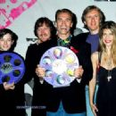 Edward Furlong, Robert Patrick, Arnold Schwarzenegger, James Cameron and Linda Hamilton At 1992 MTV Movie Awards - 454 x 327