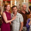 (L-r) CYNTHIA NIXON as Miranda Hobbes, DAVID EIGENBERG as Steve Brady and LYNN COHEN as Magda in New Line Cinema's comedy 'SEX AND THE CITY 2,' a Warner Bros. Pictures release. Photo by Craig Blankenhorn - 454 x 303