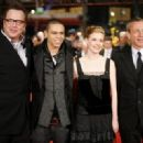 Tom Arnold, Evan Ross and Gillian Jacobs and British director Damian Harris arrive on the red carpet for the screening of the movie