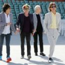 Ronnie Wood, Keith Richards, Charlie Watts and Mick Jagger of the Rolling Stones walk onto the Adelaide Oval for a photo call for the media ahead of their Australian tour at Adelaide Oval on October 23, 2014 in Adelaide, Australia.