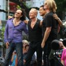 Joe Elliott, Phil Collen and Vivian Campbell of Def Leppard appear for a performance and interview with Mario Lopez of 'Extra' at The Grove, California on June 1st, 2012 - 454 x 534