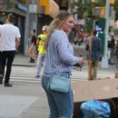 Iskra Lawrence out on the Lower East Side in Manhattan