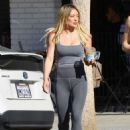 Hilary Duff in Grey Tights – Leaves Alfred's Coffee in Studio City