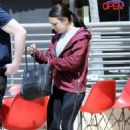 Janel Parrish in Tights at Comoncy enjoying brunch in Los Angeles